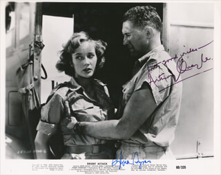 DESERT ATTACK MOIVIE CAST - PRINTED PHOTOGRAPH SIGNED IN INK CO-SIGNED BY: SYLVIA SYMS, SIR ANTHONY QUAYLE