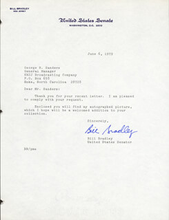 Autographs: BILL BRADLEY - TYPED LETTER SIGNED 06/06/1979