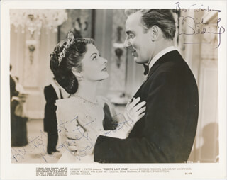 TRENT'S LAST CASE MOIVE CAST - PRINTED PHOTOGRAPH SIGNED IN INK CO-SIGNED BY: MICHAEL WILDING, MARGARET LOCKWOOD