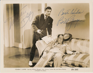 BOMBAY CLIPPER MOVIE CAST - PRINTED PHOTOGRAPH SIGNED IN INK CO-SIGNED BY: TURHAN BEY, WILLIAM GARGAN - HFSID 342815
