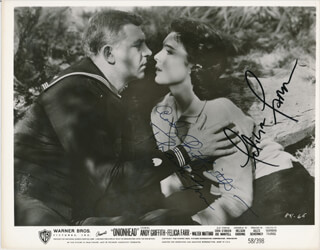 ONIONHEAD MOVIE CAST - PRINTED PHOTOGRAPH SIGNED IN INK CO-SIGNED BY: ANDY GRIFFITH, FELICIA FARR