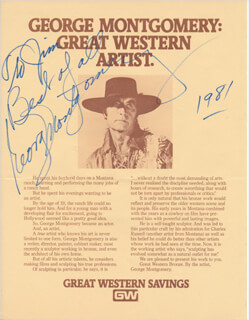 GEORGE MONTGOMERY - INSCRIBED ADVERTISEMENT SIGNED 1981