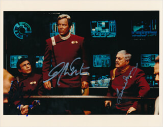 STAR TREK TV CAST - AUTOGRAPHED SIGNED PHOTOGRAPH CO-SIGNED BY: WALTER KOENIG, JAMES DOOHAN, WILLIAM SHATNER