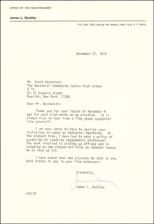 JAMES L. BUCKLEY - TYPED LETTER SIGNED 12/21/1970