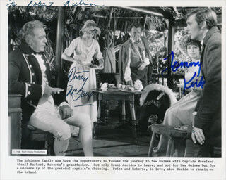 SWISS FAMILY ROBINSON MOVIE CAST - INSCRIBED PRINTED PHOTOGRAPH SIGNED IN INK CO-SIGNED BY: DOROTHY McGUIRE, TOMMY KIRK