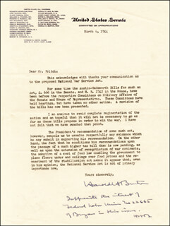 Autographs: ASSOCIATE JUSTICE HAROLD H. BURTON - TYPED LETTER SIGNED 03/06/1944