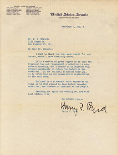 HARRY F. MR. ECONOMY BYRD SR. - TYPED LETTER SIGNED 02/07/1951