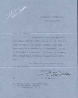 W. C. FIELDS - TYPED LETTER SIGNED 06/10/1943