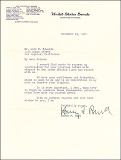HARRY F. MR. ECONOMY BYRD SR. - TYPED LETTER SIGNED 12/29/1960