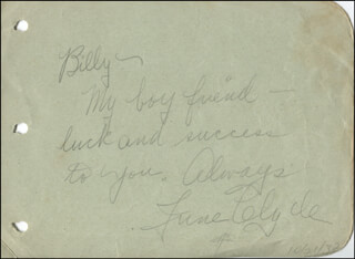 JUNE CLYDE - AUTOGRAPH NOTE SIGNED 10/21/1932