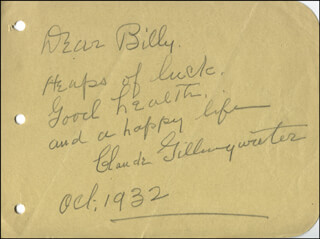 CLAUDE GILLINGWATER - AUTOGRAPH NOTE SIGNED 10/1932
