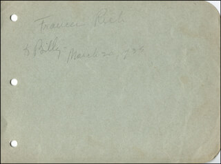 FRANCES RICH - AUTOGRAPH NOTE SIGNED 03/20/1935