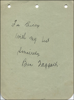 Autographs: BEN TAGGART - AUTOGRAPH NOTE SIGNED