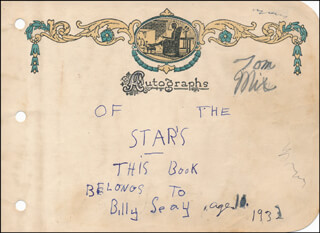 TOM MIX - AUTOGRAPH 1932 CO-SIGNED BY: BILLY SEAY