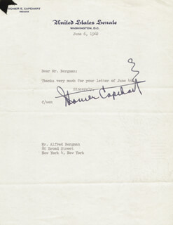 Autographs: HOMER E. CAPEHART - TYPED NOTE SIGNED 06/06/1962