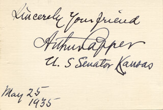 GOVERNOR ARTHUR CAPPER - AUTOGRAPH 05/25/1935