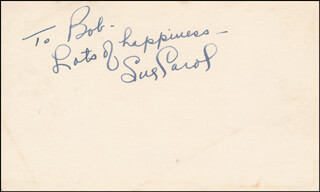 SUE CAROL LADD - AUTOGRAPH NOTE SIGNED