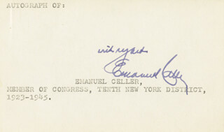 Autographs: EMANUEL CELLER - AUTOGRAPH SENTIMENT SIGNED CIRCA 1945