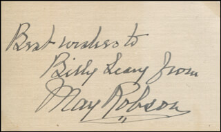 MAY ROBSON - AUTOGRAPH NOTE SIGNED