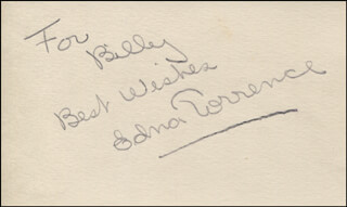 EDNA TORRANCE - AUTOGRAPH NOTE SIGNED