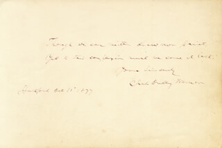 CHARLES DUDLEY WARNER - AUTOGRAPH QUOTATION SIGNED 10/11/1877