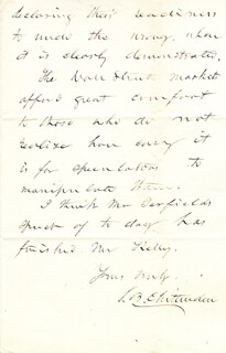 SIMEON B. CHITTENDEN - AUTOGRAPH LETTER SIGNED 03/06/1878
