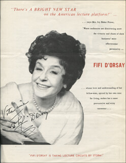 FIFI D'ORSAY - INSCRIBED PROGRAM PAGE SIGNED