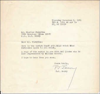 P.J. BARRY - TYPED LETTER SIGNED 11/05/1981