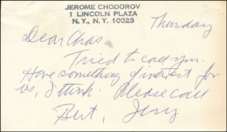JEROME CHODOROV - AUTOGRAPH NOTE SIGNED 02/26/1976