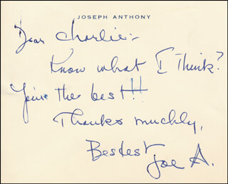 JOSEPH ANTHONY - AUTOGRAPH NOTE SIGNED