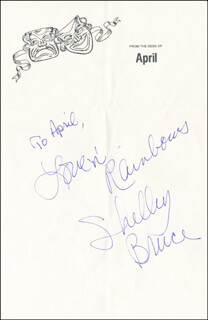 SHELLEY BRUCE - AUTOGRAPH NOTE SIGNED