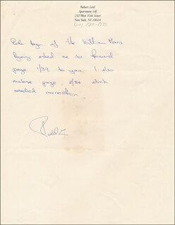 ROBERT LORD - AUTOGRAPH STATEMENT SIGNED