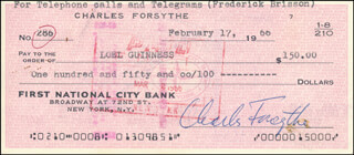 Autographs: CHARLES FORSYTHE - CHECK ENDORSED 02/17/1966 CO-SIGNED BY: LOEL GUINNESS