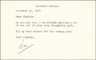 ELIZABETH I. MCCANN - TYPED NOTE SIGNED 12/31/1975