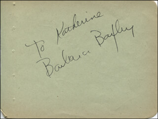 BARBARA BAXLEY - INSCRIBED SIGNATURE CO-SIGNED BY: GLORIA VANDERBILT