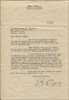 BEN BARD - TYPED LETTER SIGNED 07/26/1928