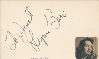 LYNN BARI - INSCRIBED SIGNATURE