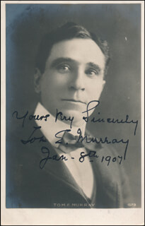 TOM E. MURRAY - PRINTED PHOTOGRAPH SIGNED IN INK 01/08/1907