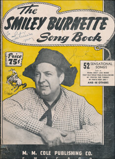 SMILEY (LESTER) BURNETTE - INSCRIBED SHEET MUSIC COVER SIGNED