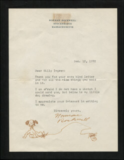 NORMAN ROCKWELL - ORIGINAL ART ON TYPED LETTER SIGNED 12/12/1972