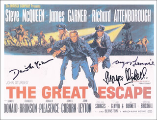 THE GREAT ESCAPE MOVIE CAST - PRINTED PHOTOGRAPH SIGNED IN INK CO-SIGNED BY: DAVID McCALLUM, ANGUS LENNIE, GEORGE MIKELL