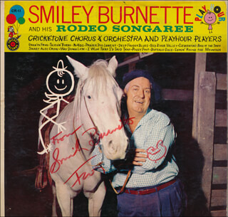 SMILEY (LESTER) BURNETTE - RECORD ALBUM COVER SIGNED