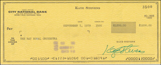 KAYE STEVENS - AUTOGRAPHED SIGNED CHECK 09/05/1979