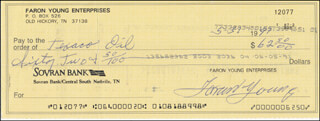 FARON THE SHERIFF YOUNG - AUTOGRAPHED SIGNED CHECK 05/31/1991
