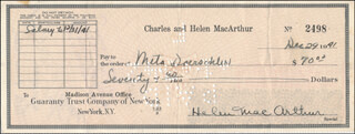 HELEN HAYES - AUTOGRAPHED SIGNED CHECK 12/29/1941
