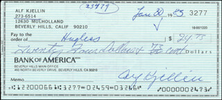 ALF KJELLIN - AUTOGRAPHED SIGNED CHECK 01/30/1983