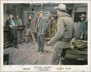 NIGHT PASSAGE MOVIE CAST - PRINTED PHOTOGRAPH SIGNED IN INK CO-SIGNED BY: AUDIE MURPHY, JACK ELAM, DAN DURYEA