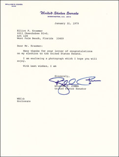 Autographs: WILLIAM COHEN - TYPED LETTER SIGNED 01/31/1979