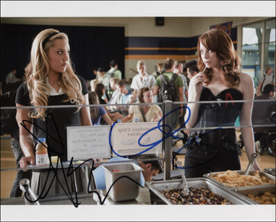 EASY A MOVIE CAST - AUTOGRAPHED SIGNED PHOTOGRAPH CO-SIGNED BY: AMANDA BYNES, EMMA STONE