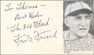 FRANKIE FRISCH - AUTOGRAPH NOTE SIGNED